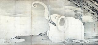 伊藤若冲 《象と鯨図屛風》(右隻)