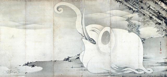 画像: 伊藤若冲 《象と鯨図屛風》(右隻) 紙本墨画 六曲一双 各159.4×354.0cm 寛政9年(1797)滋賀・MIHO MUSEUM