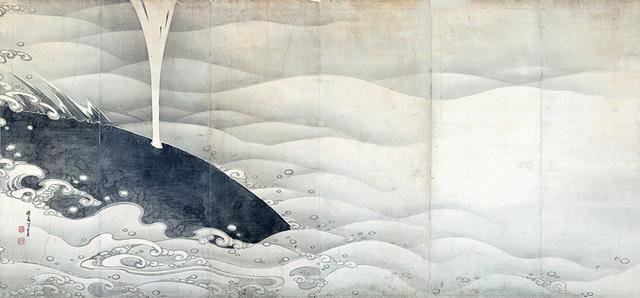 画像: 伊藤若冲 《象と鯨図屛風》(左隻) 紙本墨画 六曲一双 各159.4×354.0cm 寛政9年(1797)滋賀・MIHO MUSEUM