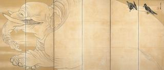 長沢芦雪 《白象黒牛図屏風》(右隻)