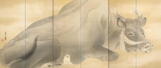 画像: 長沢芦雪 《白象黒牛図屏風》(左隻) 紙本墨画 六曲一双 各155.3×359.0cm 米国・エツコ&ジョー・プライスコレクション