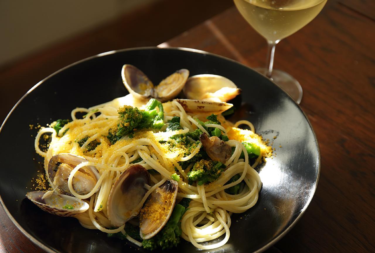Images : アサリと菜の花、ボッタルガのスパゲティ
