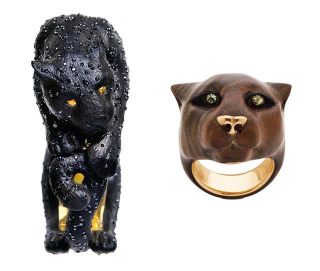 画像: (左から) 「PANTHERA PARDUS」 ハルミ氏がもっとも愛するネコ科の動物であるヒョウをかたどったブレスレット 「COUGAR PUMA CONCOLOR」 銀盃花(ぎんばいか)の木を彫琢したリング。目にはエジプト芸術を彷彿させるペリドットを使用
