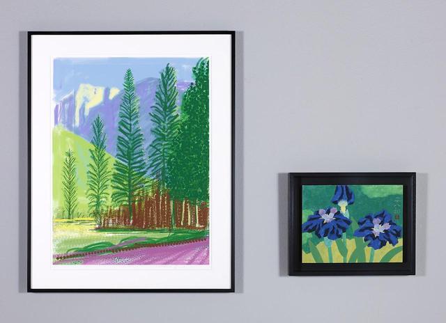 画像: (左から) デイヴィッド・ホックニー《Untitled No.12》(「The Yosemite Suite」シリーズより) 2010年、 福田平八郎《花菖蒲》 1970年