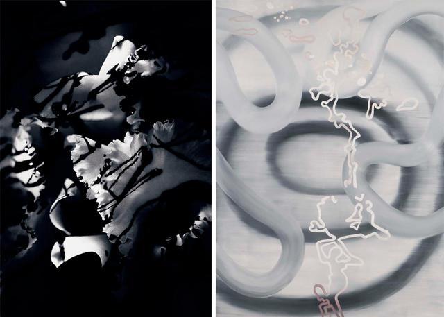 画像: (左から)《パリスとアポロがアキレスの踵に 矢を向け命を狙う》を解釈した蜷川実花の作品(タイトルなし)、《アキレスとアガメムノンの口論》を新解釈した堂本右美の《but then I thought...》