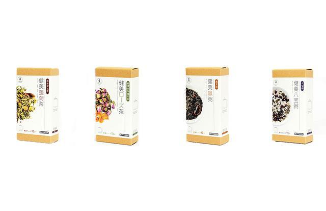 画像: (左から) バイディーム「健美蓮菊茶」、「健美ローズ茶」、「健美黒粥」各¥639 「健美八宝粥」 ¥990