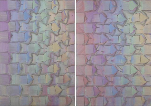 画像: 青山店1階レディースフロアに飾られている大庭大介の2枚のアクリル画《Spectrum》 PHOTOGRAPHS: COURTESY OF DRIES VAN NOTEN