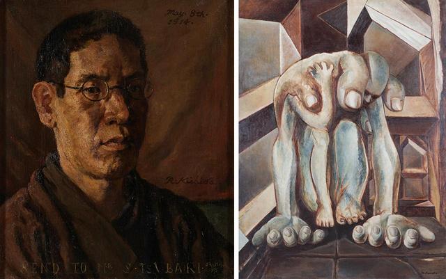 画像: (写真左から) 岸田劉生 《椿君に贈る自画像》1914年 鶴岡政男 《重い手》1949年
