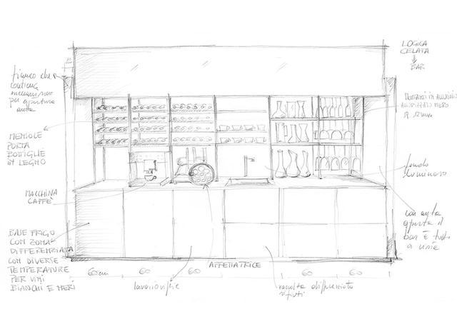 画像: 人の知恵による手書きスケッチは何よりも尊重される。最新作キッチン「ロジカチェラータ」は、スケッチから製品化までわずか7カ月と工程を短縮し、早々にお披露目することに成功した COURTESY OF VALCUCINE