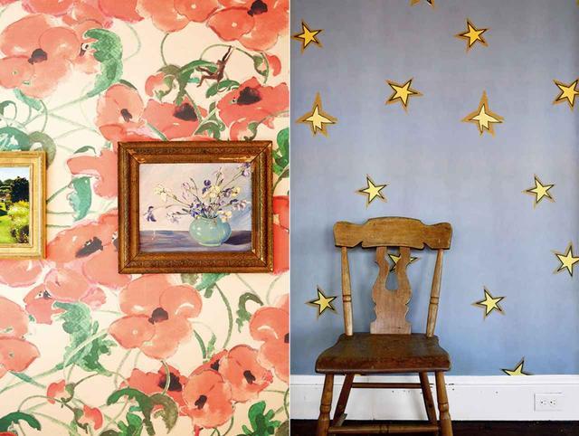 画像: ロングアイランドのベルポートにある屋敷のために選んだパターンより。 「Busted(バスト)」(左)、 「Funky Stars(ファンキー・スターズ)」(右)
