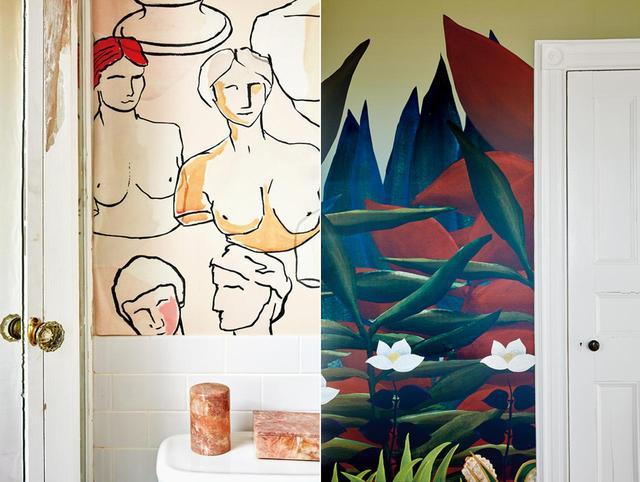 画像: ロングアイランドのベルポートにある屋敷のために選んだパターンより。 「Monkeys of Ghazipur(ガーズィープルの猿)」(左)、 「The Hunt(ハント)」(右)