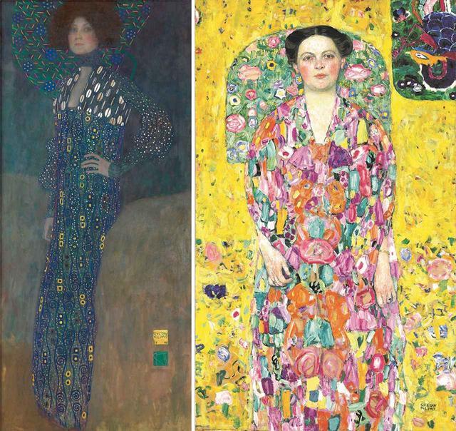 画像: (左から) 《エミーリエ・フレーゲの肖像》 1902年 油彩、カンヴァス ウィーン・ミュージアム蔵 (『ウィーン・モダン クリムト、シーレ 世紀末への道』に出展) © WIEN MUSEUM / FOTO PETER KAINZ 《オイゲニア・プリマフェージの肖像》 1913/1914年 油彩、カンヴァス 豊田市美術館 (『クリムト展 ウィーンと日本 1900』に出展) TOYOTA MUNICIPAL MUSEUM OF ART