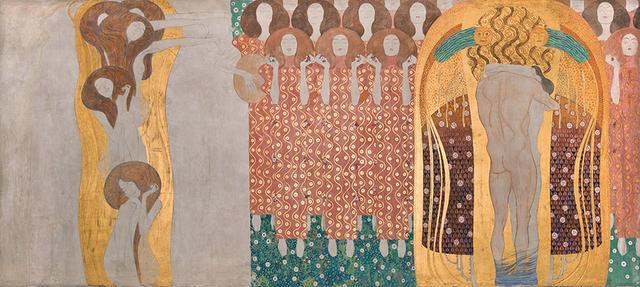 画像: 《ベートーヴェン・フリーズ》(部分)1984年 原寸大複製/オリジナルは1901-1902年 ベルヴェデーレ宮オーストリア絵画館 (『クリムト展 ウィーンと日本 1900』に出展) © BELVEDERE, VIENNA, PHOTO: JOHANNES STOLL
