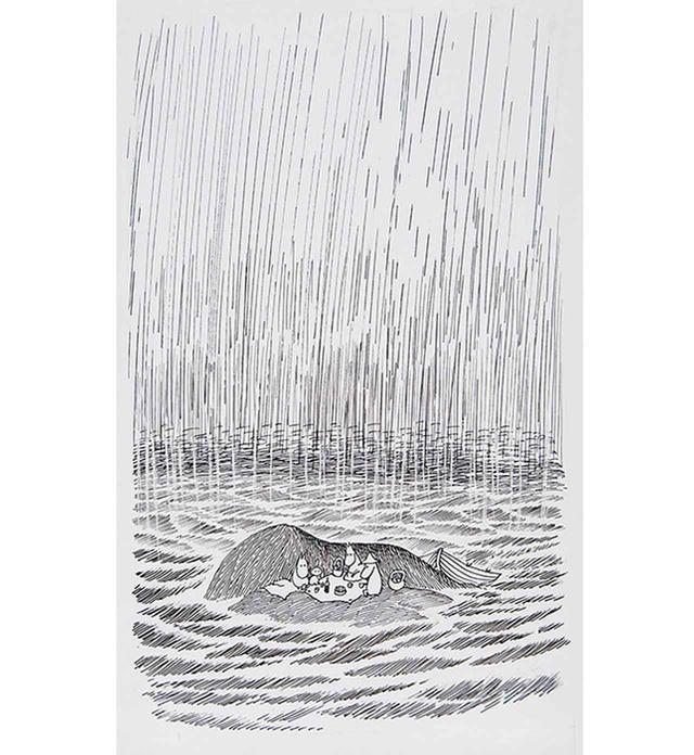 画像: トーベ・ヤンソン 《「ムーミンパパ海へいく」挿絵》 1965年、インク・紙 ムーミン美術館