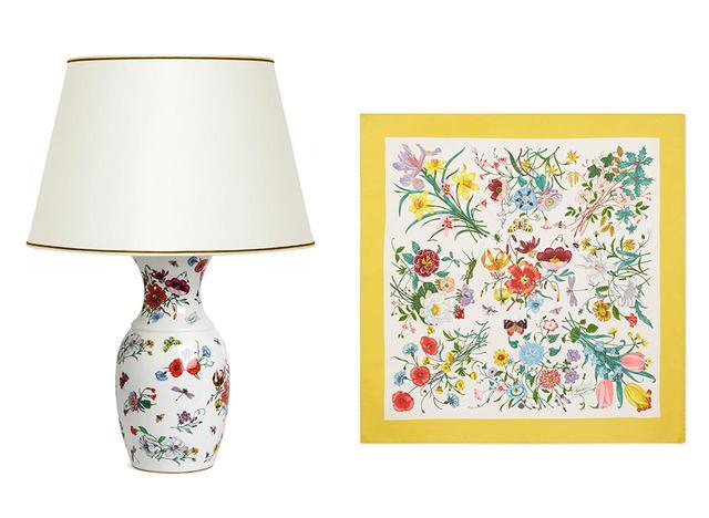 画像: アーカイブから選ばれたフローラ プリントのランプ(左)、スカーフ(右)。貴重なコレクションを目にするチャンスだ