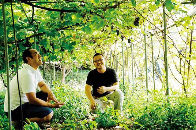 画像: 育種家・林慎悟(右)と、何種類ものぶどうが生い茂る林のぶどう畑で。林が10年かけて開発した「マスカットジパング」は今、大人気の品種だ。「たとえば育種家が醸造家へ苗木を無料で配布し、ワイン1本につき50円ほどのロイヤリティを得る方式にすれば、双方にメリットが生まれます」と大岡は語る