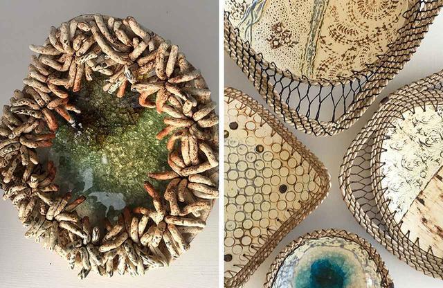画像: (左)ノース・ウイスト島に工房兼ショップ「ショアライン・ストーンウェア」を構える、陶芸家ルイーズ・クックのストーンウェアの器 (右)海草の縁取りが精巧な、エンボス加工された器の数々 PHOTOGRAPHS BY LOUISE COOK