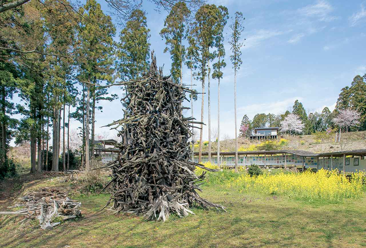 Images : 蔡の《炎の塔》が置かれた美術館の中庭