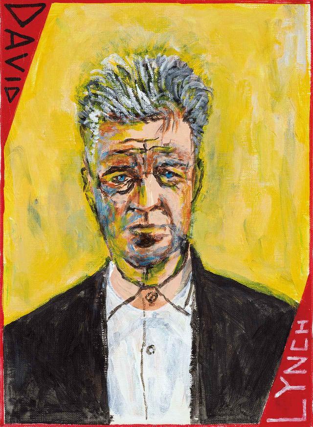 画像: 画集『カルティエ そこに集いし者』 (国書刊行会)に収録された、 映画監督デヴィッド・ リンチの肖像。先に 制作したリンチの肖像の上に重ねて描いた。 「プロセスを見せるようなもの」と横尾は言う David Lynch Artist and Filmmaker United States of America 2018, Acrylic on canvas