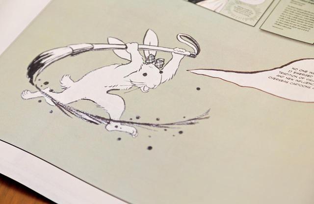 """画像: """"漫符(マンガの独特の表現記号)""""をテーマにしたこうの史代の『ギガタウン 漫符図譜』。そのキャラクター""""みみちゃん""""が本展にも登場し、来場者にマンガの読み方を伝える"""