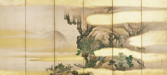 画像: 《赤壁図屏風(せきへきずびょうぶ)》 (右隻) 谷文晁(たにぶんちょう)筆 6曲1双 日本・江戸時代 19世紀 根津美術館蔵