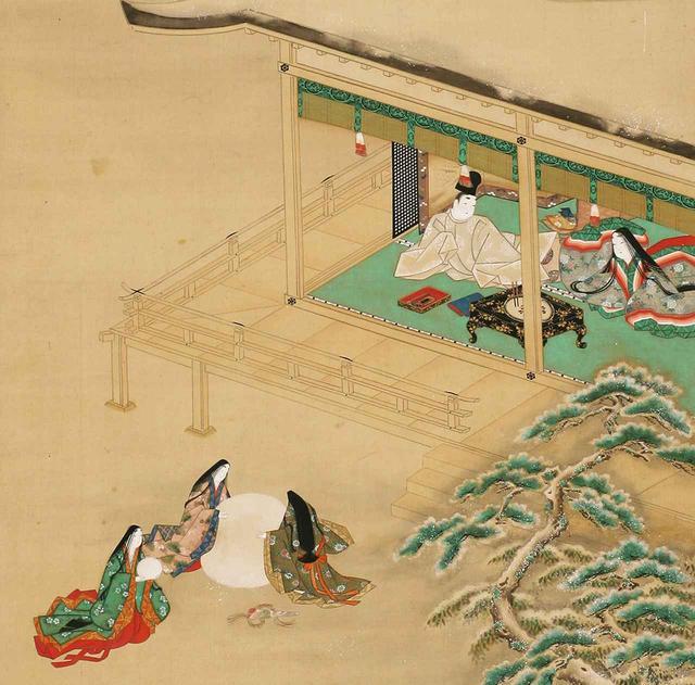 画像: 《源氏物語朝顔図》 (部分) 土佐光起筆 1幅 日本・江戸時代 17世紀 根津美術館蔵