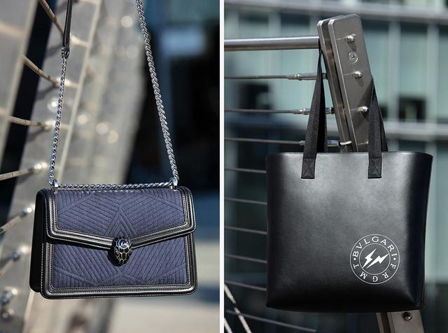 画像: (左から) 「セルペンティ」 バッグ <デニム、W24×H15×D7cm>¥295,000 「BBフラグメント」 トートバッグ <カーフ、W35×H36×D11cm>¥180,000