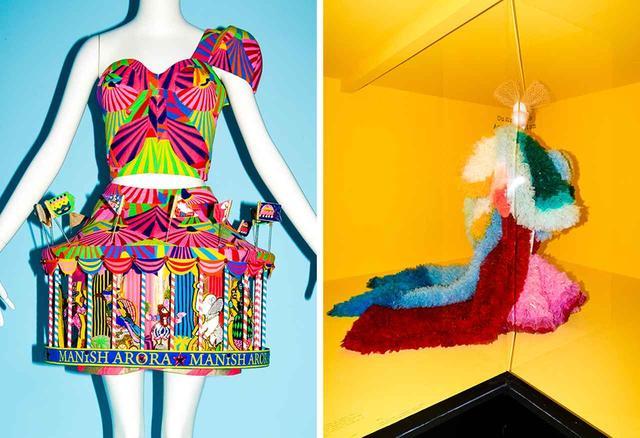 画像: (左)マニッシュ・アローラによる遊び心たっぷりの服。2009年 (右)まるでお菓子のよう。トモ・コイズミによる、レインボーカラーのポリエステル・オーガンジーを重ねたドレス