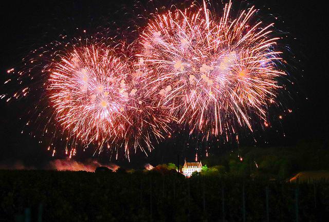 画像: 10分間にも及ぶ花火が、シャトー・ド・サランとブドウ畑の上空、漆黒の空を極彩色に染めた