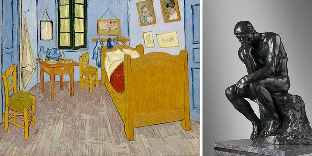画像: (左から) フィンセント・ファン・ゴッホ 《アルルの寝室》 1889年 油彩、カンヴァス オルセー美術館 PARIS, MUSÉE D'ORSAY, CÉDÉ AUX MUSÉES NATIONAUX EN APPLICATION DU TRAITÉ DE PAIX AVEC LE JAPON, 1959 PHOTO © RMN-GRAND PALAIS (MUSÉE D'ORSAY) / HERVÉ LEWANDOWSKI / DISTRIBUTED BY AMF オーギュスト・ロダン 《考える人》 1881-82年 ブロンズ 国立西洋美術館(松方コレクション) PHOTOGRAPH BY NORIHIRO UENO