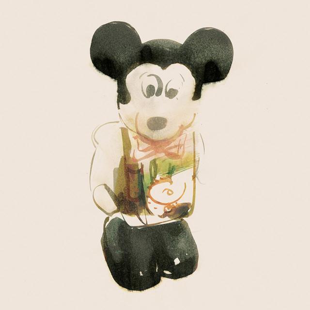 画像: プラスチック製のねじ巻き式ミッキーマウス/1970年代