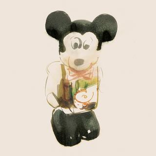 プラスチック製のねじ巻き式ミッキーマウス/1970年代