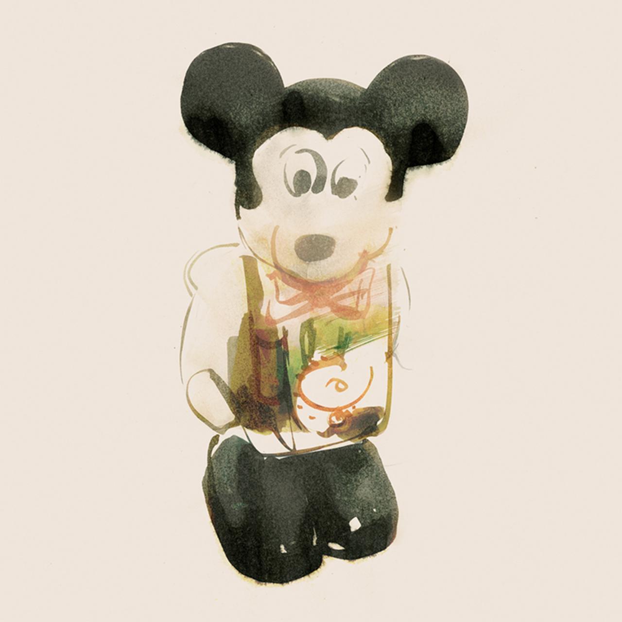 Images : プラスチック製のねじ巻き式ミッキーマウス/1970年代