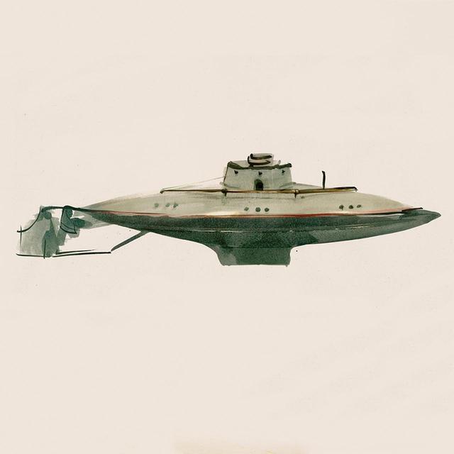 画像: 金属製の潜水艦/1900年代初期