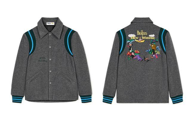 画像: ウールジャケット¥194,000 背面にはアニメーションに登場した4人のキャラクターの刺繍が