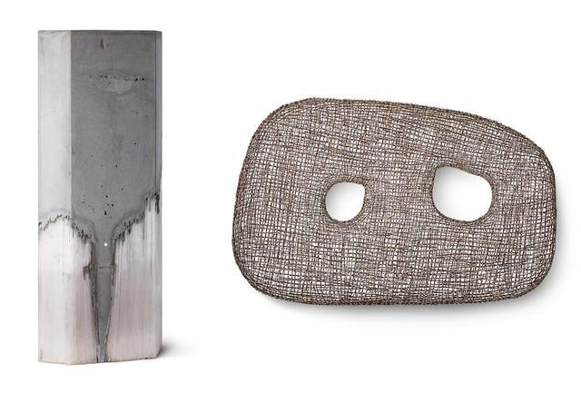 画像: (左から) ハリー・モーガン 《'Untitled' from Dichotomy Series》 2018年 ガラス、コンクリート 250×300×950cm 高樋一人 《KADO(Angle)》 2018年 サンザシの小枝、ろうを施したリネンのより糸 290×1,370×860cm PHOTOGRAPHS: COURTESY OF LOEWE