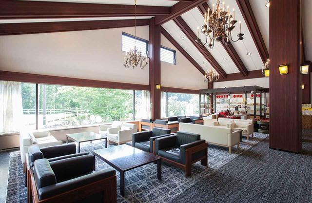 画像: 天井の高いロビーラウンジ。窓が大きく外の自然との一体感が快適