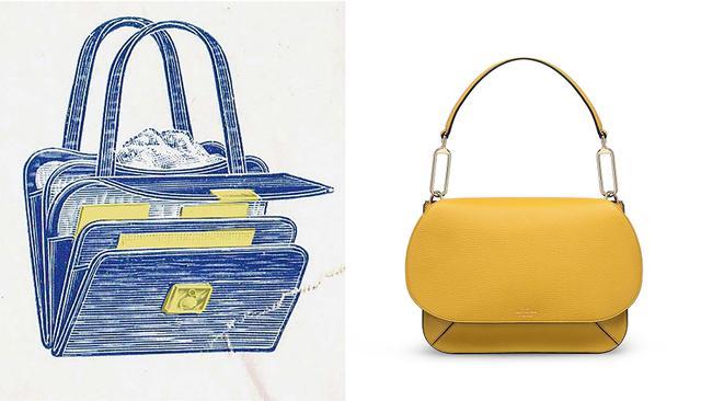 画像: 左は1910年に発表された、CONCERTINA カードケース型バッグ。新作の「CONCERTINAシリーズ」(写真右)で取り入れたアコーディオン型の仕切りは、オリジナルのディテールを巧みに反映したもの
