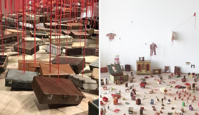 画像: (左から) 《集積ー目的地を求めて》 2014/2019年 スーツケース、モーター、赤いロープ 《小さな記憶をつなげて》 2019年 ミクストメディア PHOTOGRAPHS BY MASANOBU MATSUMOTO