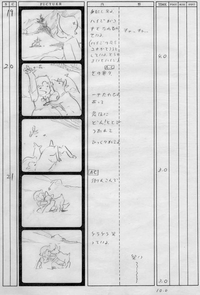 画像: 『アルプスの少女ハイジ』の絵コンテ。絵は宮崎駿が描き、描写の説明を高畑が文字で記している © ZUIYO 「アルプスの少女ハイジ」公式ホームページ http://www.heidi.ne.jp/