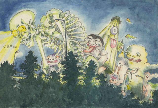 """画像: 『平成狸合戦ぽんぽこ』のイメージボード。画中には、""""国芳""""の文字も見られ、高畑の美術研究が反映されていることが伺える © 1994 畑事務所・Studio Ghibili・NH"""