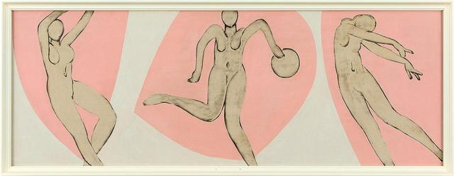 画像: 猪熊弦一郎 《無題》1948-49年頃 板に油彩(3枚組の一部)個人蔵 アンリ・マティスを南仏に訪ねたのちに描かれた猪熊弦一郎の絵。マティスから学ぼうとしたのだろう。作品からはマティスの傑作『ダンス』の影響が色濃く見られる © THE MIMOCA FOUNDATION