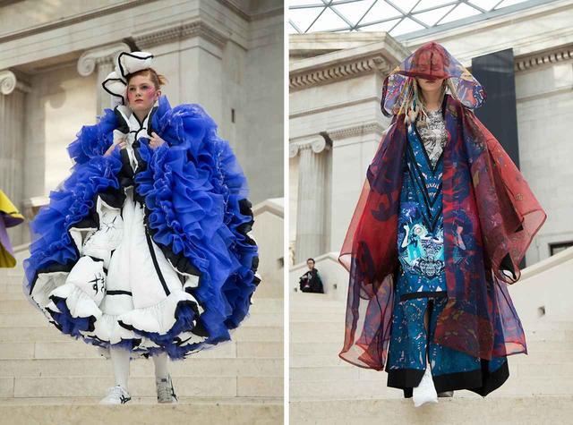 画像: (写真左)『リボンの騎士』に着想を得た加藤双葉(ドレスメーカー学院)のドレス (写真右)日英の要素をコラージュしたという小口大輔(東京モード学園) Ⓒ AMBER MUIR 2019