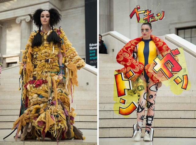 画像: (写真左)島谷達廣(武蔵野美術大学)の作品は『AKIRA』と現代社会の重なりをテーマに崩壊と構築を表現 (写真右)細矢さくら(バンタンデザイン研究所)は、漫画のなかで強調される目と擬音をモチーフにした Ⓒ AMBER MUIR 2019
