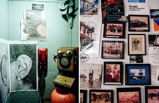 画像: (左)店内の電話ボックス (右)フジツボのように店内のいたる所にはりついた、思い出の数々