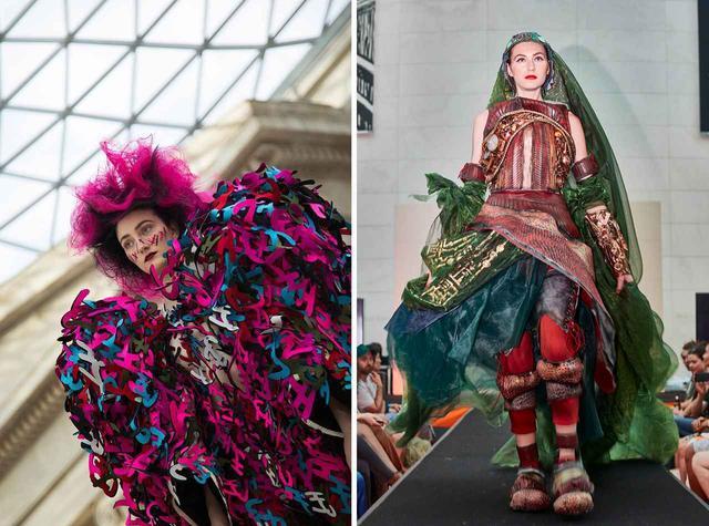 画像: (写真左)漫画の吹き出しや擬音にインスピレーションされた瀬戸川裕太(エスモード ジャポン)の作品 (写真左)猪名川あや(文化服装学院)は、漫画の世界に住む女神を衣装で表現した Ⓒ AMBER MUIR 2019