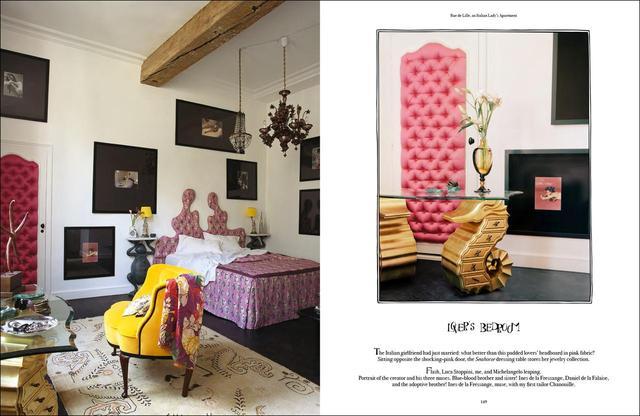 画像: 作品集『Vincent Darré Surreal Interiors of Paris』より。友人のアパルトマンのデコレーション。寝室にはダレがデザインした竜の落とし子の姿が脚になったデスクが置かれている