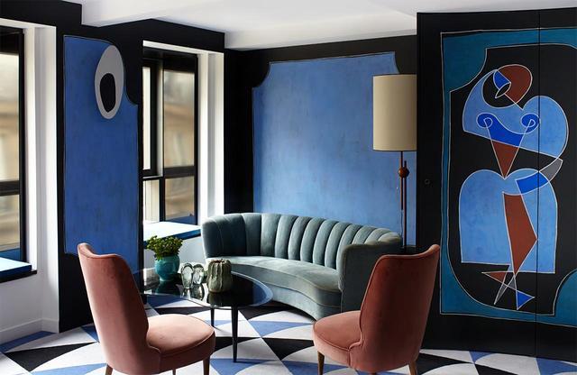 画像: 作品集『Vincent Darré Surreal Interiors of Paris』より。サンジェルマン地区のホテル「モンタナ」内、キュビストの芸術家、ピカソとブラックに捧げる客室