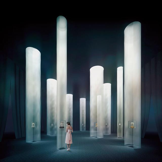 画像: 本展のために開発されたファブリックを用いた空間[会場イメージ 序章「時の間」新素材研究所] 展示会場の中心に配置される「時の間」の新素材研究所によるパース © N.M.R.L. / HIROSHI SUGIMOTO + TOMOYUKI SAKAKIDA