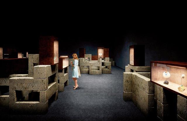 画像: 第2章「フォルムとデザイン」の空間。大谷石で構成される © N.M.R.L. / HIROSHI SUGIMOTO + TOMOYUKI SAKAKIDA